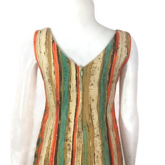 50s Striped Barkcloth Dress, Vintage 1950s Midi D… - image 9