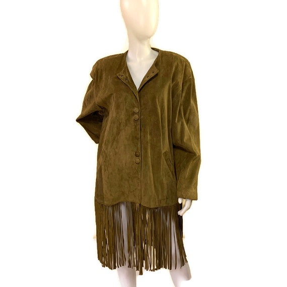 80s Vintage 1980s Khaki Suede Coat with Long Fring