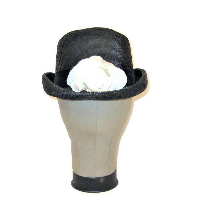0e9b6a0b 60s Bowler Hat Black Straw Bowler Derby Hat 1960s Black | Etsy