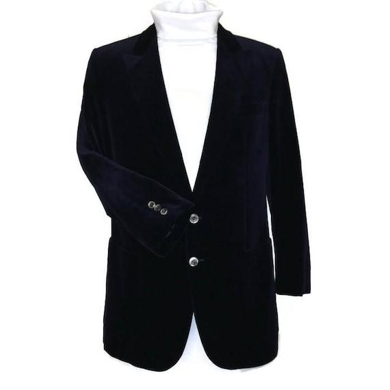 80s Velvet Jacket, Blue Black,  Velvet Blazer, Dar