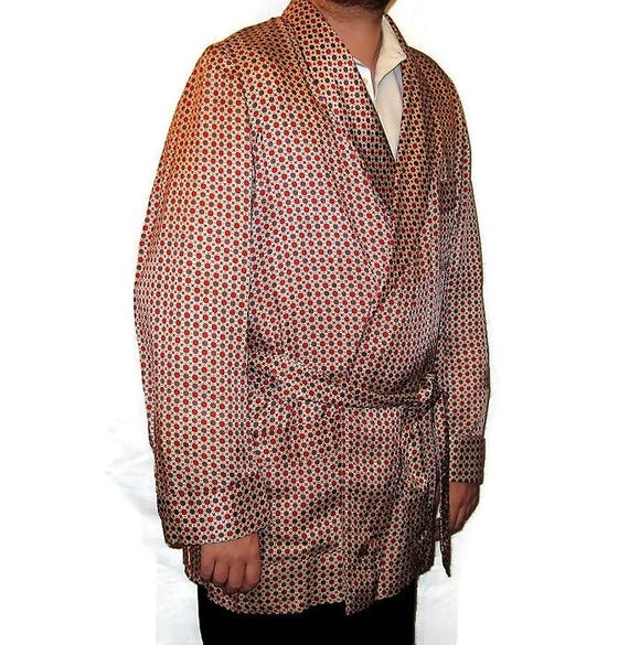 40s Short Smoking Jacket,Vintage 1940s Cream, Bro… - image 4