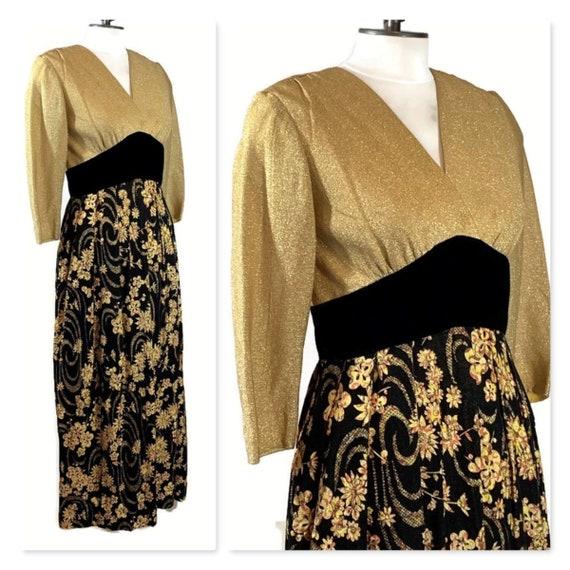 Vintage 50s Evening Dress with Metallic Gold Lurex