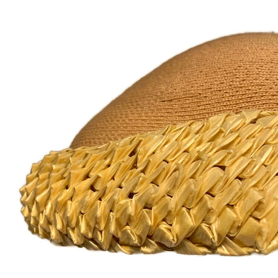 50s Summer Dress Hat, Vintage 1950s Woven Straw P… - image 4