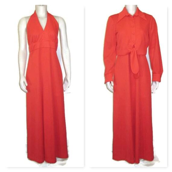 1970s Maxi Dress Long Red Dress Maxi Dress & Jacke
