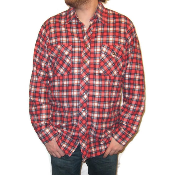 50s Men's Shirt Men's Flannel Shirt Red Plaid Shir
