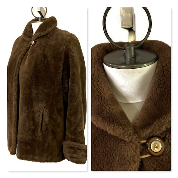 Vintage 60s Short Brown Faux Fur Winter Jacket, 19