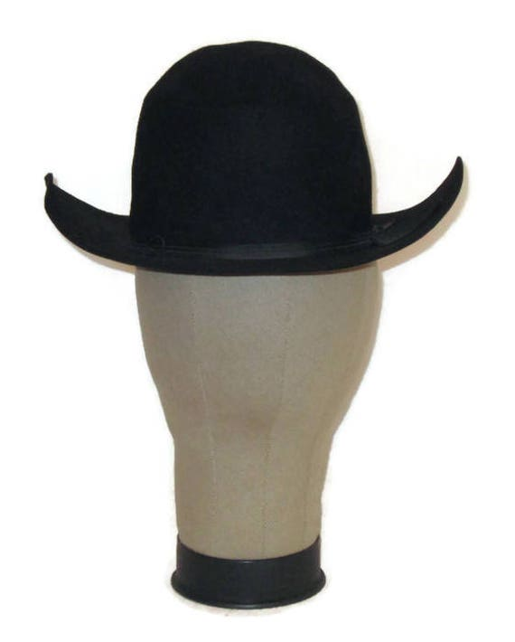 60s Cowboy Hat Black Western Hat Black Bullrider Brim Hat  a7f9dd9c6928
