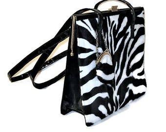 80s Shoulder Bag, Faux Patent Leather,Faux Zebra Purse,  1980s Faux Fur Purse, Black White Purse, Zebra Print Purse, Faux Black Patent