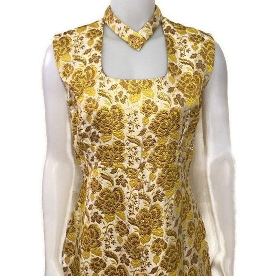 50s Gold Brocade Evening Dress, Vintage Evening Go