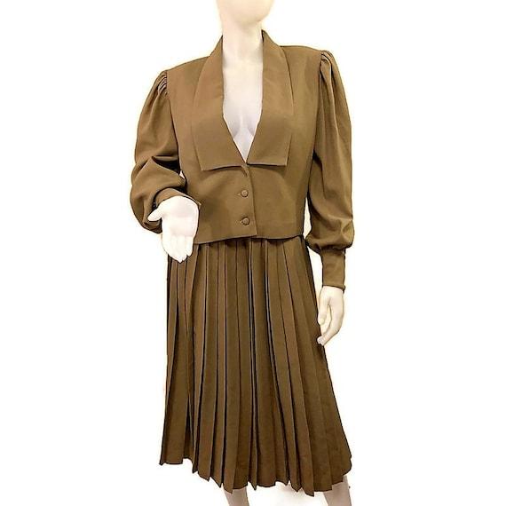 80s Virgin Wool Suit, Khaki Brown Suit, Jacket an… - image 2