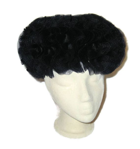 1960s Dress Hat, Black Crin  Hat, 60s MOD Hat, Ruf