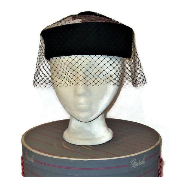60s Pillbox Hat, Fall Hat, Winter Hat, Black Velve