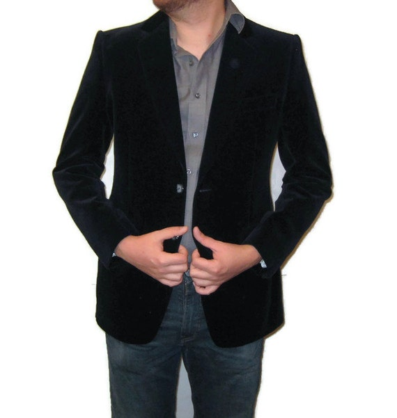 80s Velvet Sports Coat Blue Black Sports Jacket Me