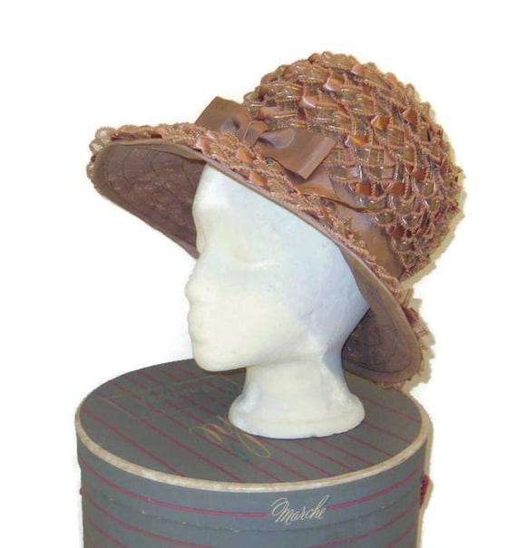 1960s Taupe Hat, Lampshade Hat, Ribbon Hat Black,