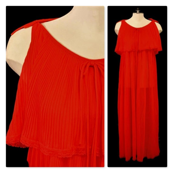 60s Red Nightgown, Pleated Chiffon Nightgown, Vint