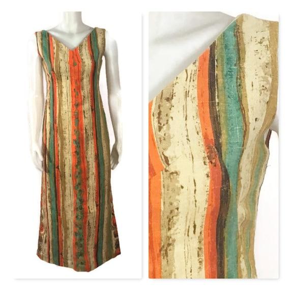 50s Striped Barkcloth Dress, Vintage 1950s Midi D… - image 1
