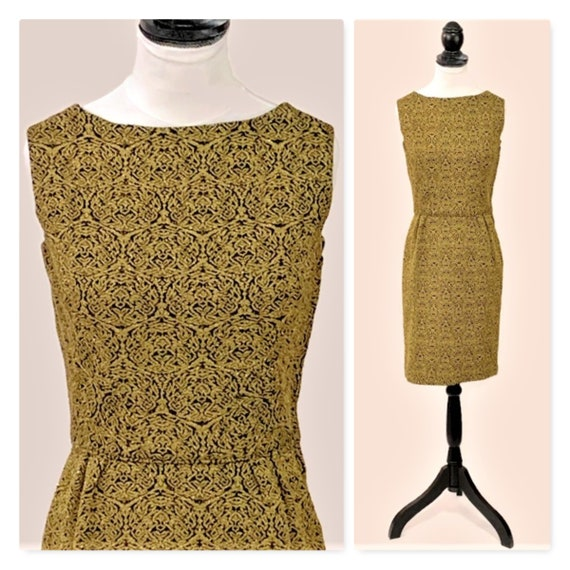 50s Black Gold Dress, Extra Small Cocktail Dress,
