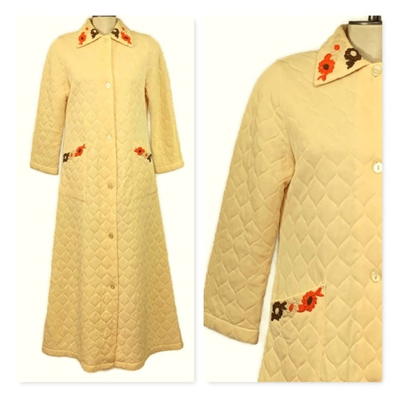 60s Long Quilted Robe, Butter Yellow House Coat, V