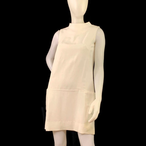 60s MOD White Sleeveless Mini Dress,  Vintage 1960