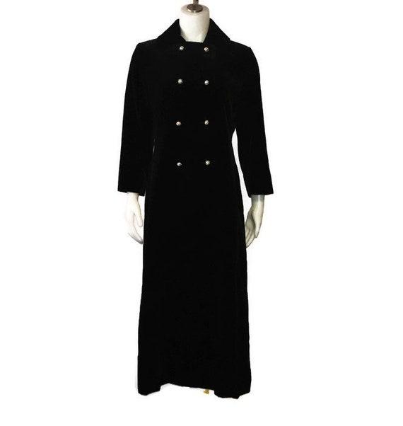Vintage Maxi, 60s Maxi Coat, Black Velvet, Long Ve
