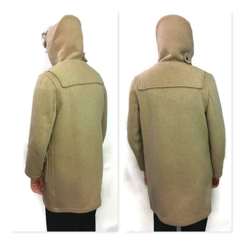 Vintage 1960s Hooded Lined Duffle Coat Made in England 60s Wool Gloveral