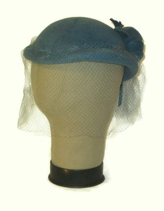 40s Blue Hat, Imported Velour Hat, 1940s Cocktail