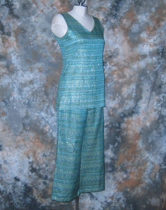60s MOD Pant Suit Blue Pants & Top Blue Gold Pant