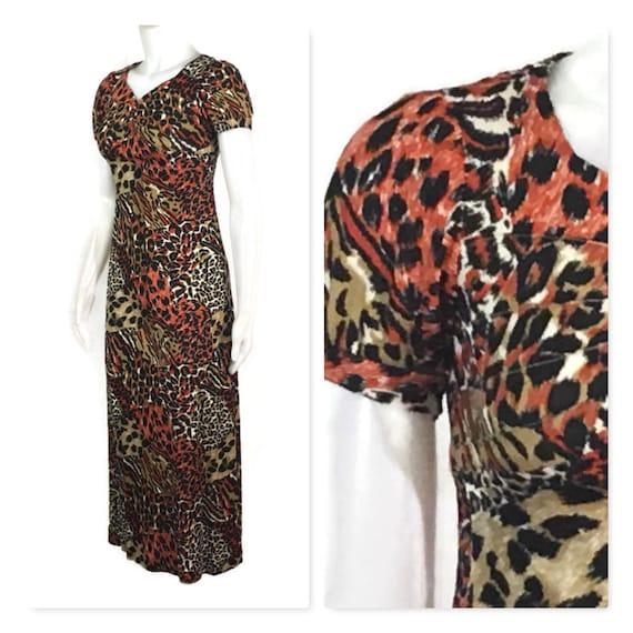 60s Animal Print Dress, Vintage 1960s Empire Waist