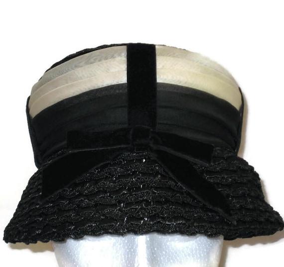 1960s Black Hat Black Lampshade Hat Black Cream Ha