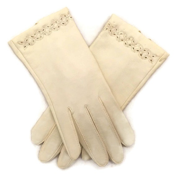 60s Cream Gloves, Leather Gloves, Kid Leather, 196