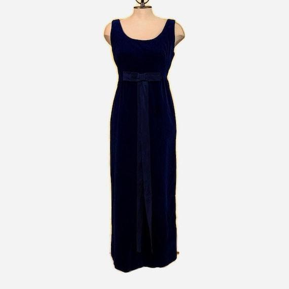 60s Blue Velvet Dress, Velvet Gown, Dark Blue Velv