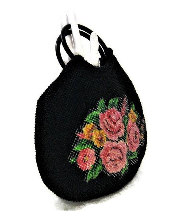 60s Black Beaded Bag, Vintage 1960s Beaded Floral
