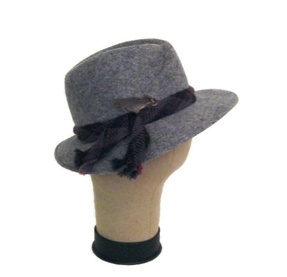 70s Fedora Hat Grey Womans Hat Doeskin Felt Hat W… - image 2