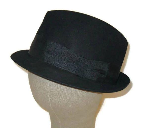 60s Black Trilby Black Fedora  Black Hat Morgan Sp