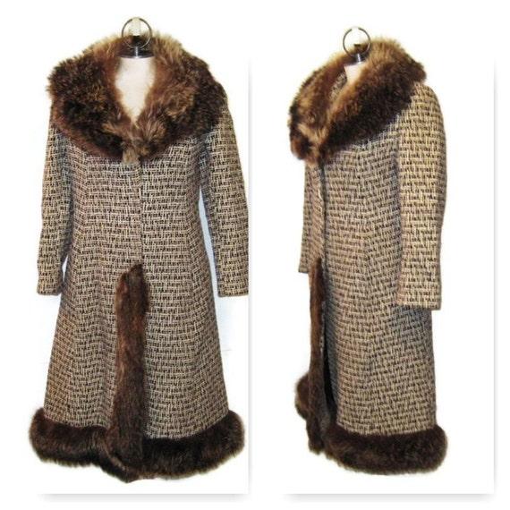 60s Wool Coat Fur Collar Fur Trim Brown Tweed Coat