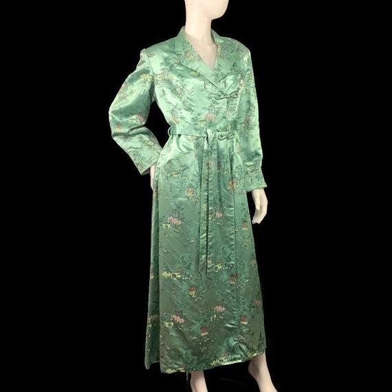 60s Green Satin Asian Fabric Robe, Long Satin Dres