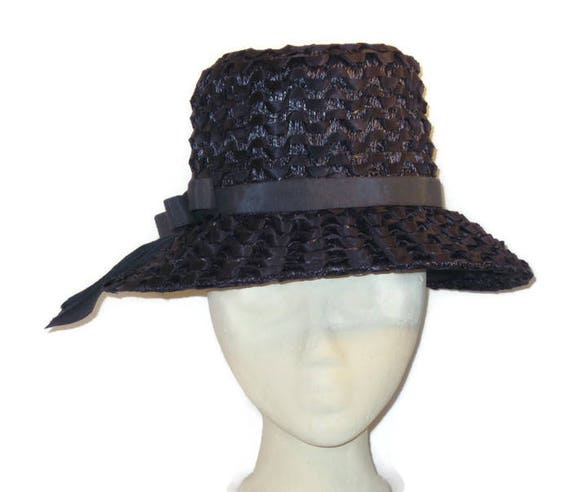 1960s Navy Blue, Hat Dark Blue Hat, Grosgrain Ribb