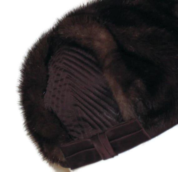 60s Fur Pillbox Hat, Fur Satin Hat, Brown Fur Hat… - image 4