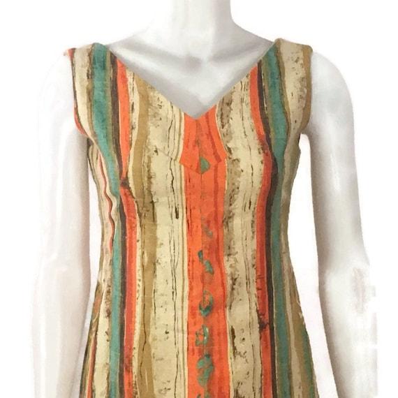 50s Striped Barkcloth Dress, Vintage 1950s Midi D… - image 7