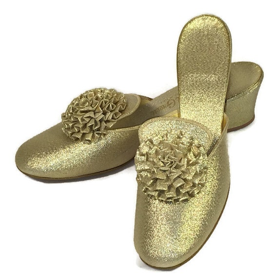 60s Gold Slipper, Gold Lame Shoes, Gold Heels, 196