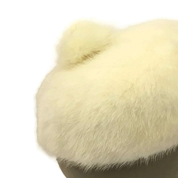 60s Mink Bubble Hat, Vintage 1960s White Fur Hat