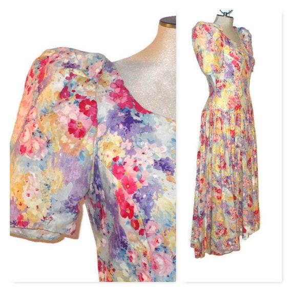 1980s Floral Bridesmaid Dress, Vintage 80s Garden