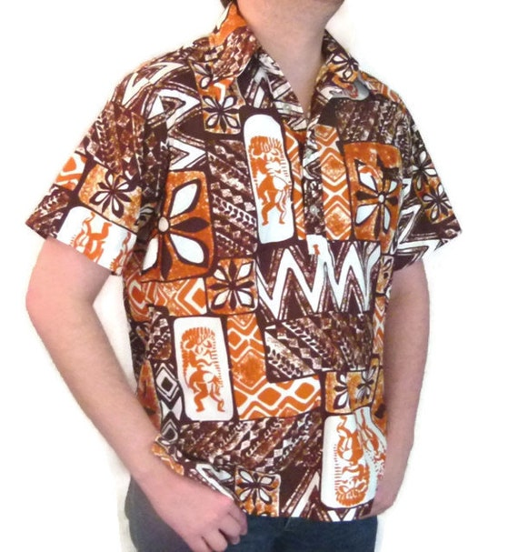 60s Hawaiian Shirt Mens Shirt Mens Brown Shirt Bro