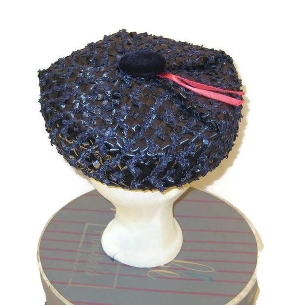 1950s Blue Hat, Blue Raffia Hat, Raffia Pillbox, D
