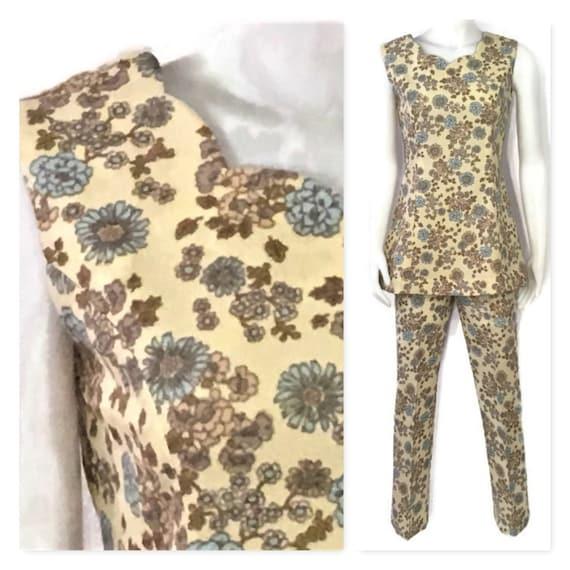 1960s Floral Pant Suit, Vintage 60s Blue Floral Pa