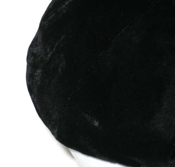 50s Black Beret Black Skull Cap Velvet Beanie 195… - image 4