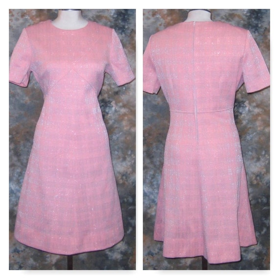 1960s Pink Summer Dress, Vintage 1960s Short Sleev
