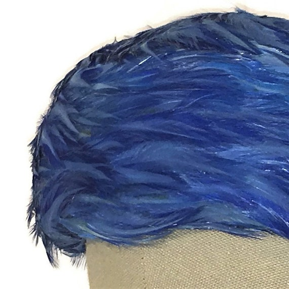 1950s Feather Pillbox, Vintage Feathered Hat, Blu… - image 1