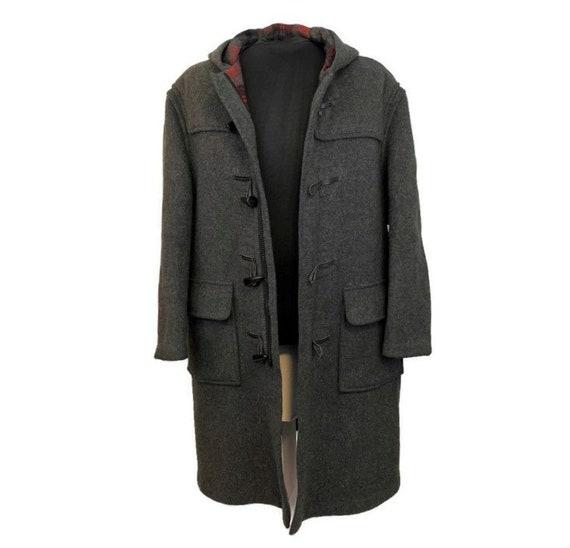 Vintage 70s Charcoal Grey Duffle Coat, 1970s Hood… - image 3