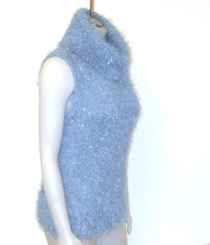 da57f443e4cd 80s Cowl Neck Top Blue Cowl Neck Sweater Blue Knit Cowl Light